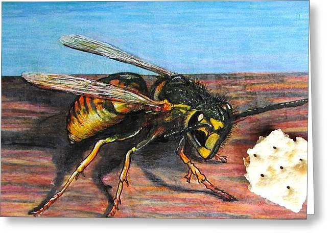 Crisp Mixed Media Greeting Cards - Wasps Crisps Greeting Card by John Foss