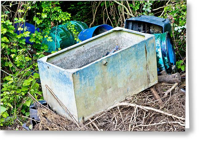 Wasteland Greeting Cards - Waste containers Greeting Card by Tom Gowanlock