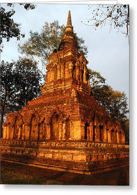 Thai Antiquities Greeting Cards - Wat Pa Sat, A 14th C. Temple Greeting Card by Anne Keiser