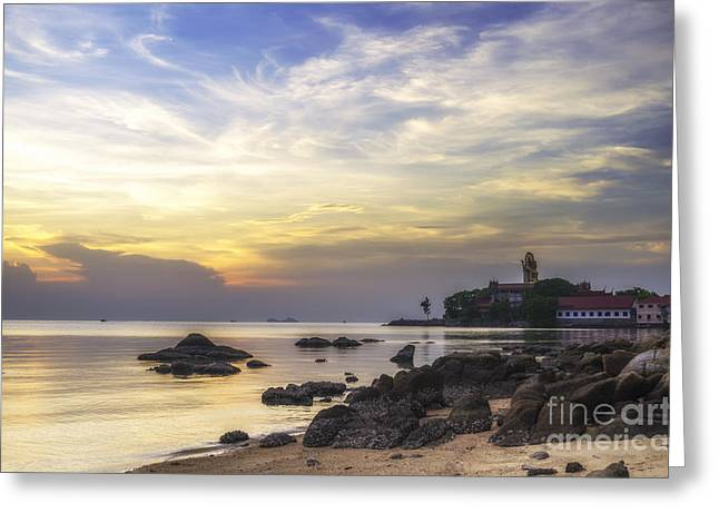 Michelle Greeting Cards - Wat Prah Yai temple at dusk Greeting Card by Michelle Meenawong