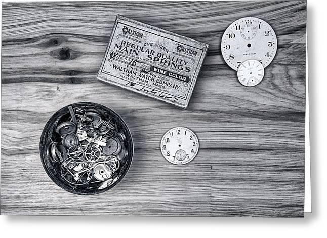 Wood Grain Greeting Cards - Watch Parts on Wood Still Life Greeting Card by Tom Mc Nemar