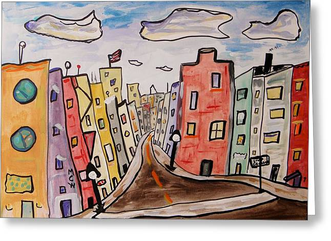 Streetlamp Drawings Greeting Cards - Watch the Crosswalk Greeting Card by Mary Carol Williams