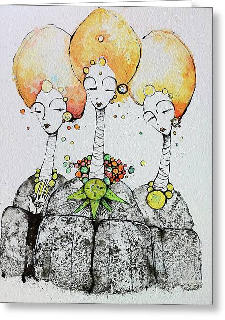 Primitive Mixed Media Greeting Cards - Watchers Greeting Card by Mark M  Mellon