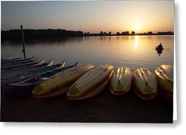 Canoe Greeting Cards - Watching Greeting Card by Charles Turnell