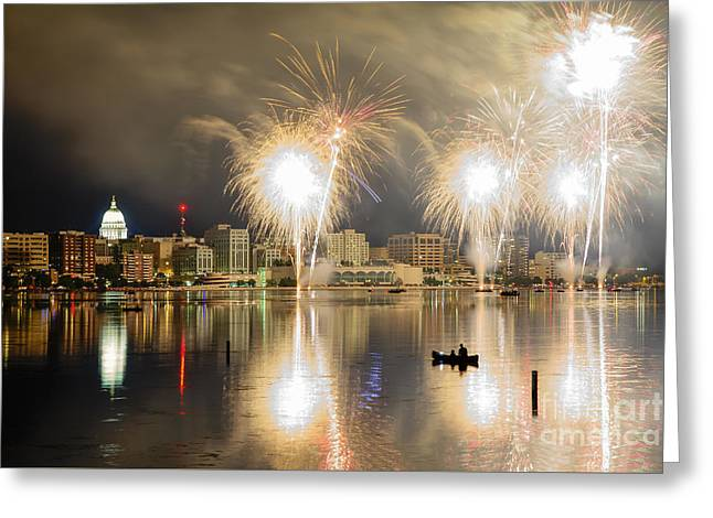 Lake Mendota Greeting Cards - Watching Fireworks in a Canoe Greeting Card by Gregory Payne