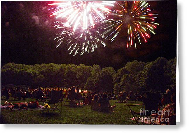 Pyrotechnics Greeting Cards - Watching Fireworks Greeting Card by Phil Welsher