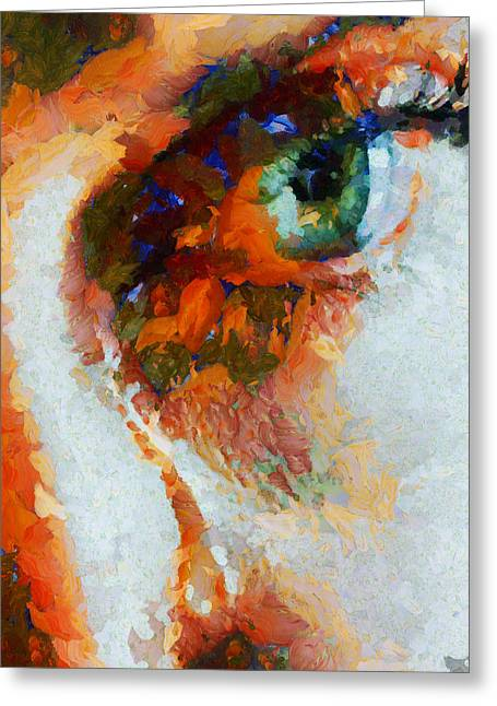 D.w. Paintings Greeting Cards - Watching Him Die - Painting  Greeting Card by Sir Josef  Putsche Social Critic
