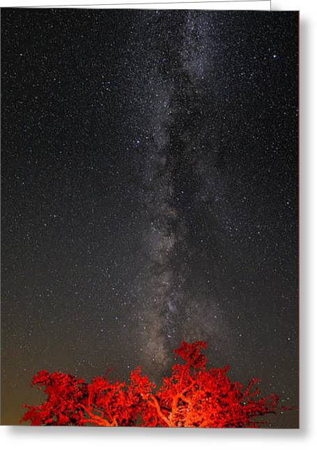 Watching In Awe As The Milky Way Rises Panorama - Enchanted Rock Fredericksburg Texas Hill Country Greeting Card by Silvio Ligutti