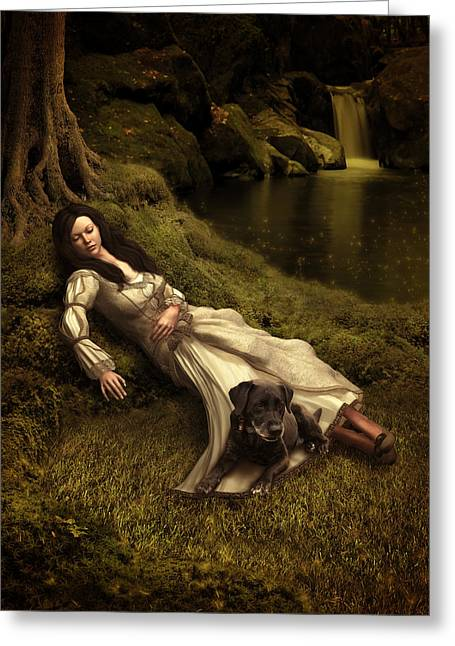 Watching Over Her Sleep Greeting Card by Britta Glodde