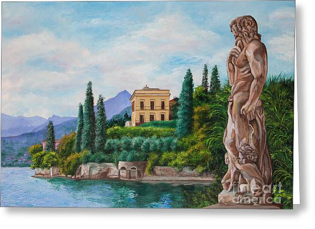 Lake Como Paintings Greeting Cards - Watching Over Lake Como Greeting Card by Charlotte Blanchard