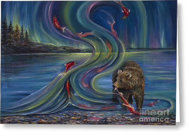 Salmon Paintings Greeting Cards - Watching Salmon Greeting Card by Vicki Caucutt