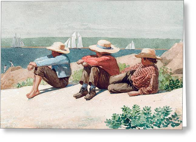 Three Children Paintings Greeting Cards - Watching Ships   Gloucester Greeting Card by Winslow Homer