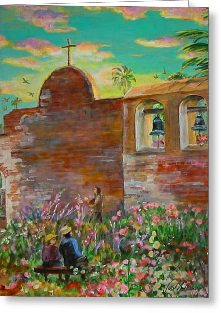 Mud Nest Greeting Cards - Watching Swallows at Mission San Juan Capistrano Greeting Card by Jan Mecklenburg