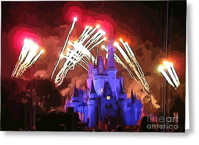 Amusements Greeting Cards - Watching the Fireworks Greeting Card by John Malone