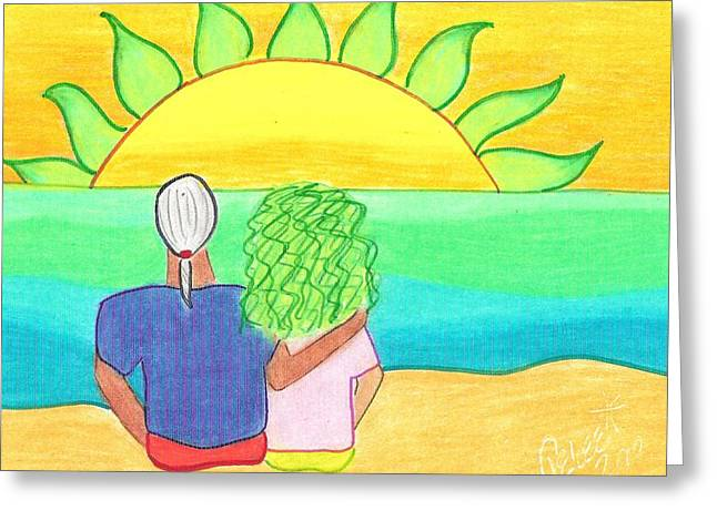 Surf Greeting Cards - Watching the Green Flash Greeting Card by Geree McDermott