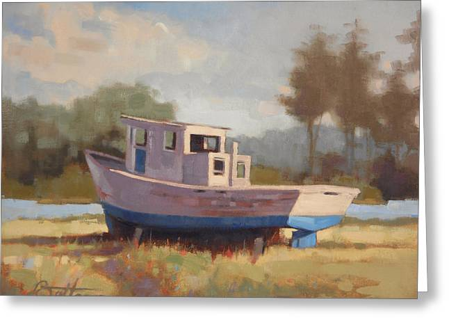 Recently Sold -  - Docked Boat Greeting Cards - Watching the River Flow Greeting Card by Todd Baxter
