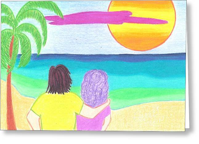 Watching The Sun Go Down Greeting Card by Geree McDermott