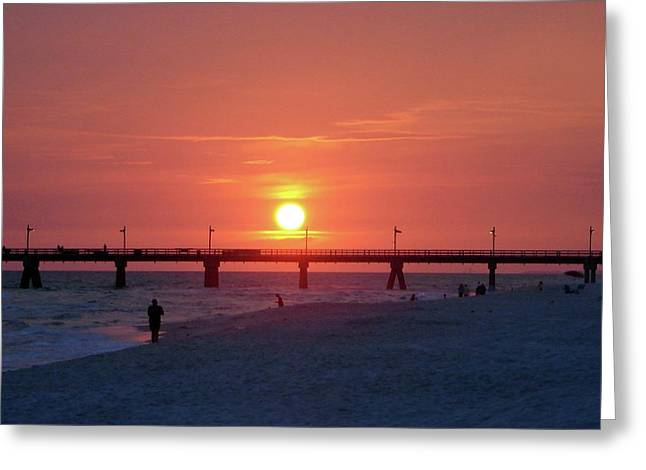 Watching The Sunset Greeting Card by Sandy Keeton