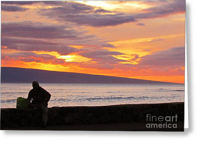Lahaina Greeting Cards - Watching the tide roll away - Lahaina Sunset Greeting Card by Hao Aiken