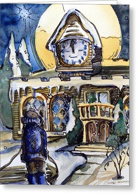 Watching The Village Clock Greeting Card by Mindy Newman