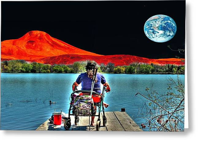 Fantasy World Greeting Cards - Watching the World Go By Greeting Card by Jimmy Ostgard