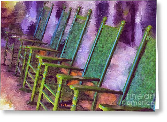 Watching The World Go By Greeting Card by Lois Bryan