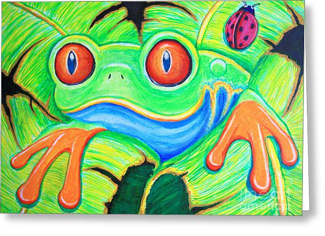 Tree Frog Paintings Greeting Cards - Watching You Red Eyed Tree Frog Greeting Card by Nick Gustafson