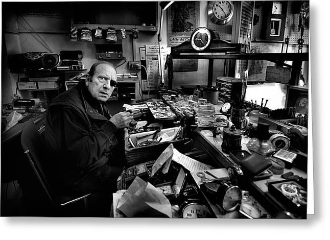 Watchmaker Greeting Cards - Watchmaker - Mr. Domenico. Greeting Card by Antonio Grambone