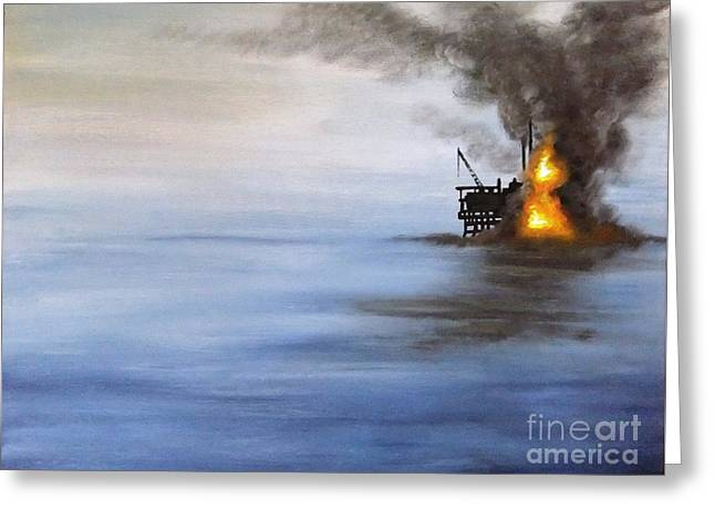 Sea Platform Paintings Greeting Cards - Water and air pollution Greeting Card by Annemeet Van der Leij