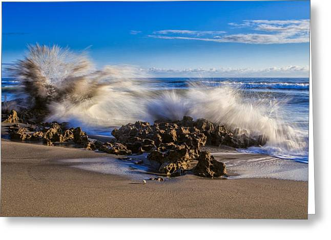 Water And Earth Collide Greeting Card by Andres Leon