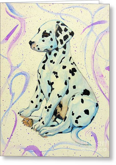 Puppies Paintings Greeting Cards - Water Color Puppy Greeting Card by Jacki McGovern