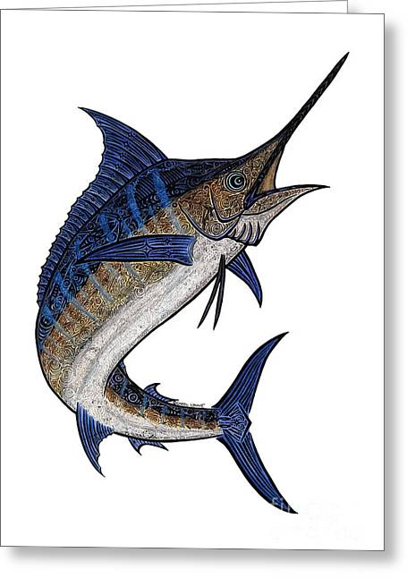 Sport Fish Greeting Cards - Water Color Tribal Marlin III Greeting Card by Carol Lynne
