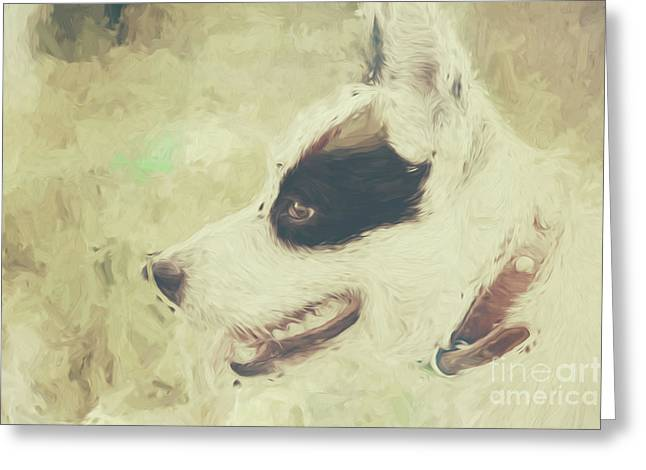 Designs On Face Greeting Cards - Water colour art of an adorable puppy dog Greeting Card by Ryan Jorgensen