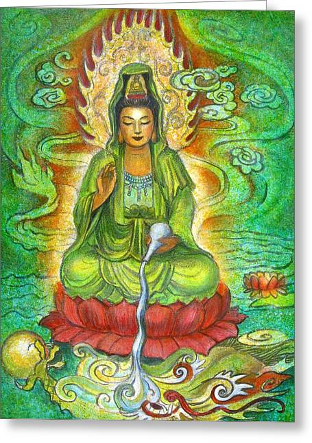 Kuan Greeting Cards - Water Dragon Kuan Yin Greeting Card by Sue Halstenberg