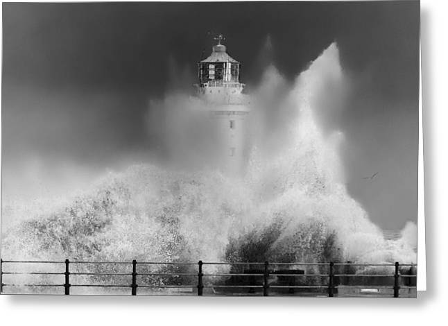 Black And White; High Seas; Danger; Greeting Cards - Water explosion_New Brighton Lighthouse Greeting Card by Rob Lester Wirral