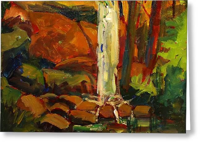 Reserve Paintings Greeting Cards - Water Fall in White Tail Reserve Greeting Card by Charlie Spear