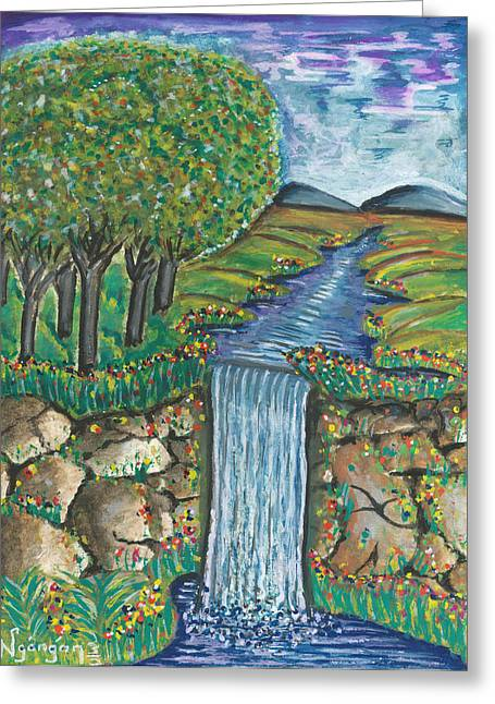Ken Greeting Cards - Water Fall Greeting Card by Ken Nganga