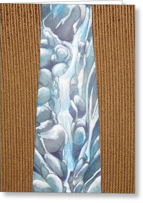 Stream Tapestries - Textiles Greeting Cards - Water Falls and Snow Melt Greeting Card by David Kelly