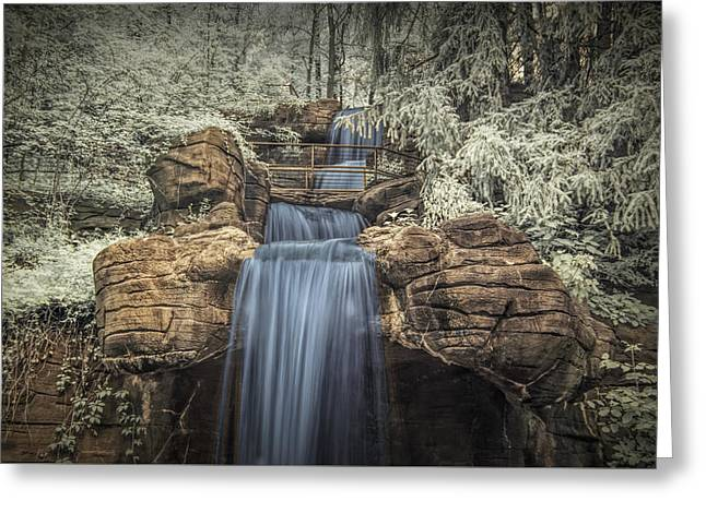 Monotone Color Greeting Cards - Water Falls in Infrared at the John Ball Park Zoo Greeting Card by Randall Nyhof