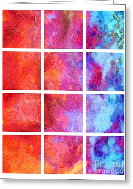 Red Abstracts Greeting Cards - Water Fire Abstract Grid 5 Greeting Card by Edward Fielding