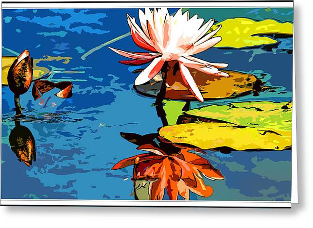 Floral Digital Art Digital Art Greeting Cards - Water flower water color  Greeting Card by Geraldine Scull