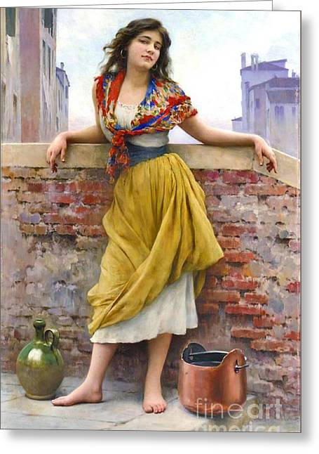 Water Jug Greeting Cards - Water Girl 1908 Greeting Card by Padre Art