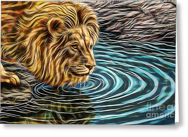 Water Hole Greeting Card by Marvin Blaine