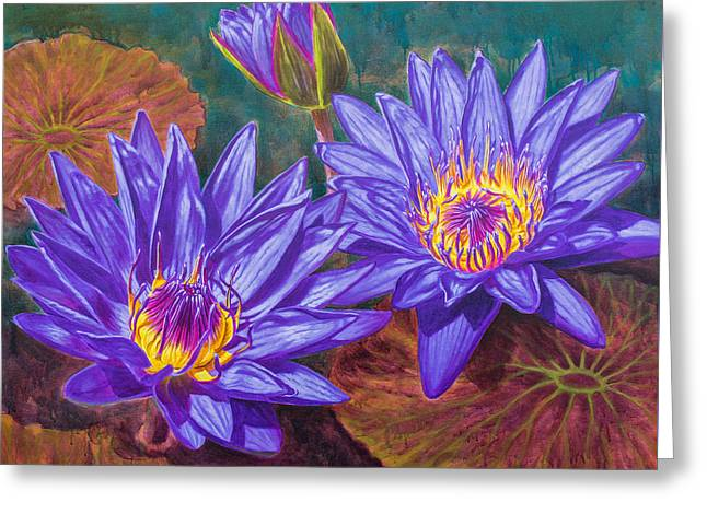 Water Garden Greeting Cards - Water Lilies 9 - Purple Water Lilies Greeting Card by Fiona Craig