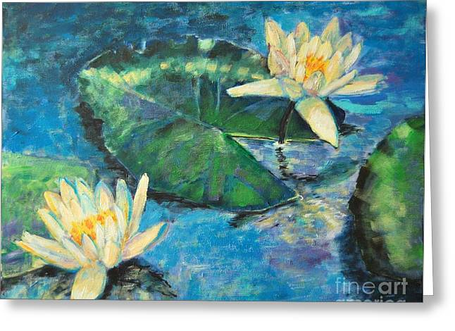 Lilly Pads Greeting Cards - Water Lilies Greeting Card by Ana Maria Edulescu