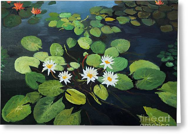 Water Lilies Greeting Card by Kiril Stanchev