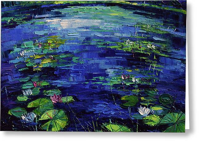 Water Lilies Magic Greeting Card by Mona Edulesco