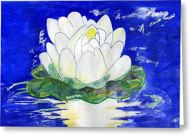 Water Lilly Mixed Media Greeting Cards - Water Lilly Greeting Card by Christy Woodland
