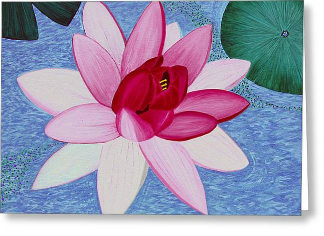 Blue Green Water Drawings Greeting Cards - Water Lilly Greeting Card by Loraine LeBlanc