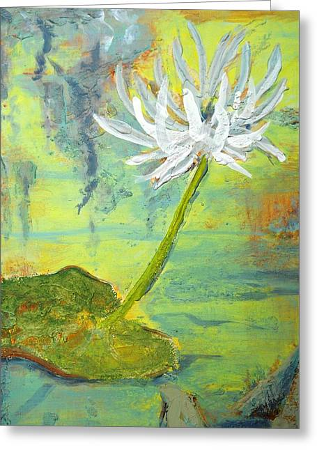 Lilly Pads Greeting Cards - Water Lilly  Greeting Card by Nyiece Pregeant Owens